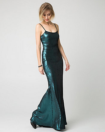 Sequin Square Neck Slip Gown