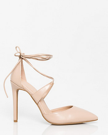 Faux Leather Ghillie Tie Pump