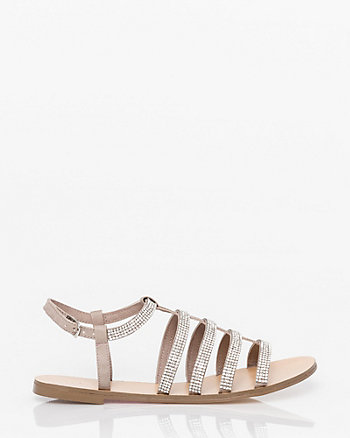 Embellished Faux Leather Gladiator Sandal