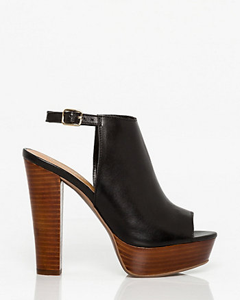 Leather Peep Toe Platform Shootie