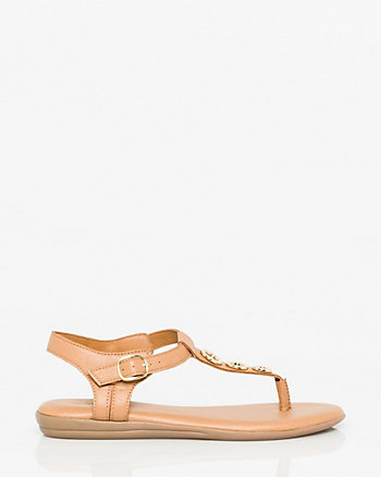 Faux Leather Thong Sandal