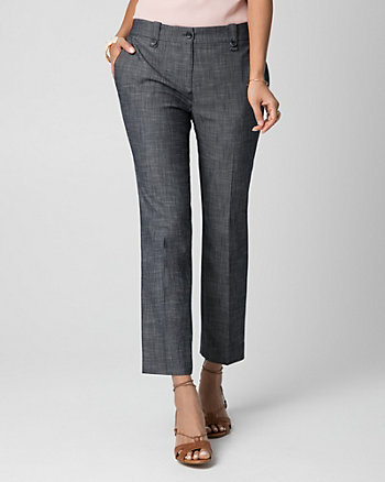 Crosshatch Denim Slim Leg Crop Pant