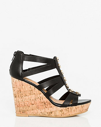 Leather-Like Gladiator Wedge Sandal