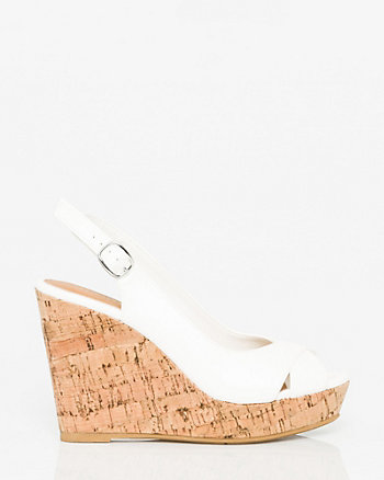 Faux Leather Peep Toe Wedge Slingback