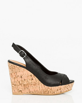 Leather-Like Peep Toe Wedge Slingback