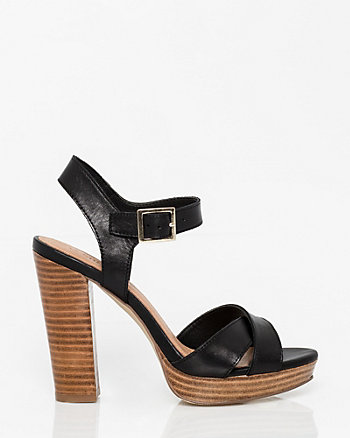 Leather Criss-Cross Platform Sandal