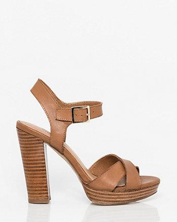 Leather Criss-Cross Platform Sandal