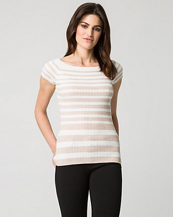 Stripe Viscose Blend Rib Sweater