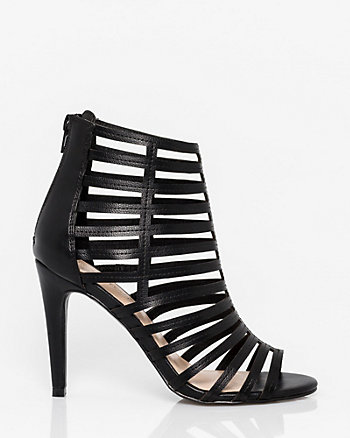 Faux Leather Open Toe Cage Sandal