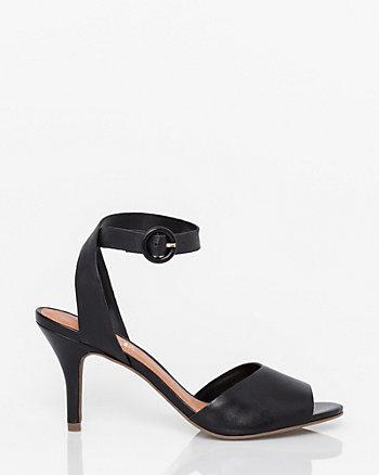 Brazilian-Made Leather Peep Toe Sandal