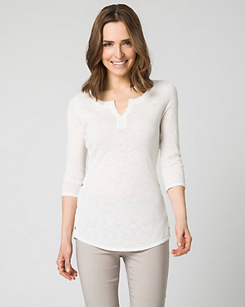 Slub Knit V-Neck Sweater