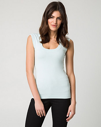 Viscose Blend Scoop Neck Sweater Tank