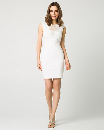 Embellished Scuba Illusion Cocktail Dress