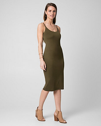 Jersey Scoop Neck Midi Dress