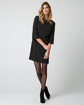 Crêpe de Chine Boat Neck Shift Dress