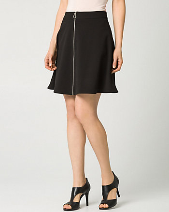 Crêpe Front-Zip Mini Skirt