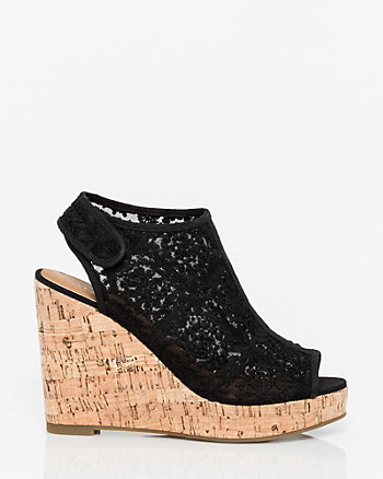 Lace & Canvas Wedge Slingback