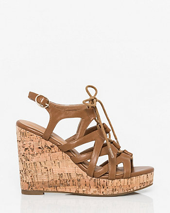 Faux Leather Ghillie Tie Wedge Sandal