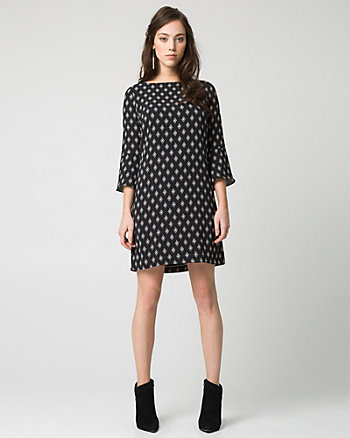 Diamond Print Crêpe de Chine Tunic Dress