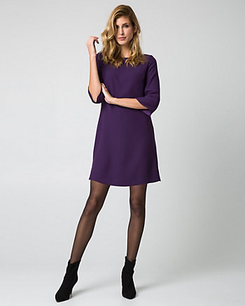 Crêpe de Chine Boat Neck Tunic Dress