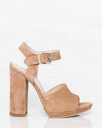 Italian-Made Suede Block Heel Sandal