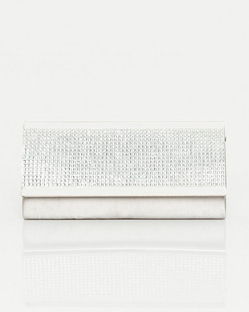 Embellished Satin Flapover Clutch