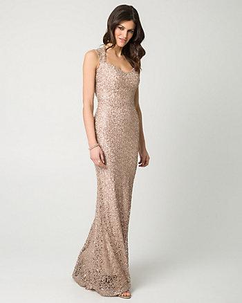 Lace & Sequin Square Neck Gown