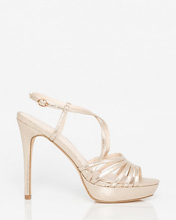 Metallic Foil Criss-Cross Slingback