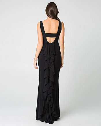 Knit V-Neck Ruffle Gown