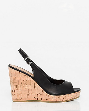 Leather-Like Wedge Slingback