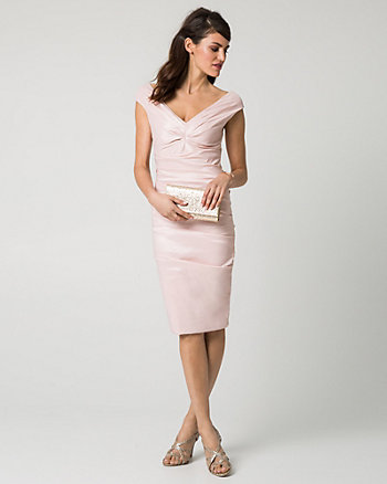 Stretch Taffeta V-Neck Cocktail Dress