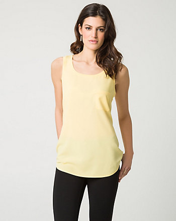 Crêpe de Chine & Jersey Scoop Neck Tank Top