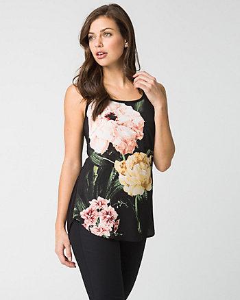 Floral Print Crêpe de Chine & Jersey Tank