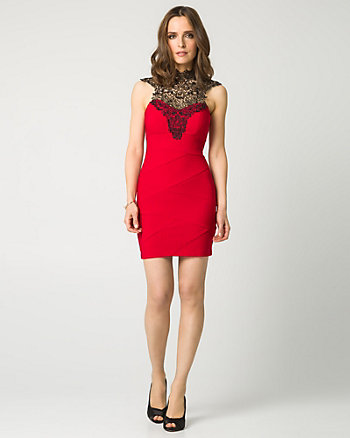 Lace & Ottoman Knit Illusion Cocktail Dress