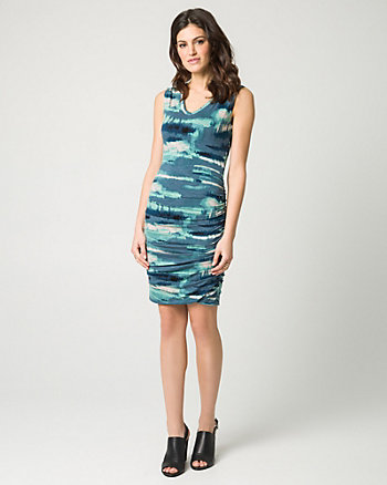 Abstract Print Jersey V-Neck Dress