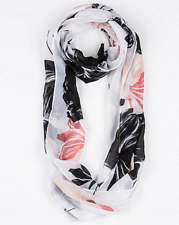 Floral Print Silk-Like Infinity Scarf