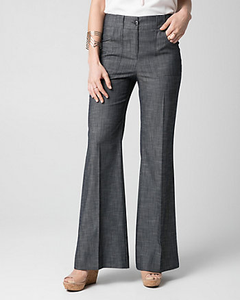 Crosshatch Denim Wide Leg Pant
