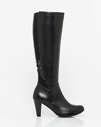 Leather Almond Toe Knee-High Boot