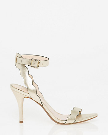 Metallic Foil Zigzag Strap Sandal