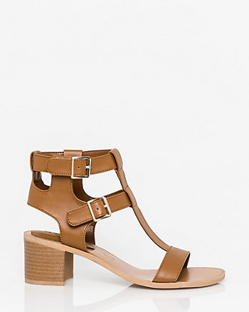 Faux Leather Open Toe T-Strap Sandal