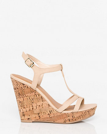 Faux Leather T-Strap Wedge Sandal