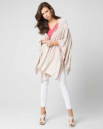 Stripe Jersey Open-Front Poncho