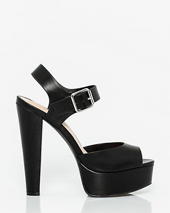 Faux Leather Platform Sandal