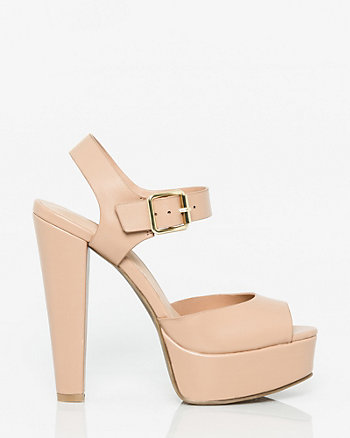 Leather-Like Platform Sandal