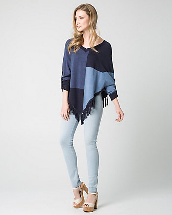 Patchwork Cotton Blend Poncho Sweater