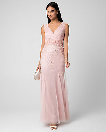 Embellished Tulle V-Neck Gown
