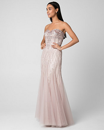 Embellished Tulle Sweetheart Gown