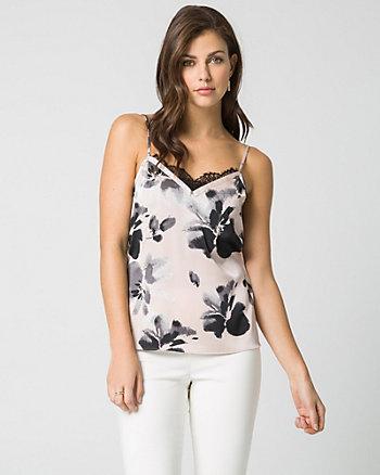 Floral Print Lace Trim Camisole