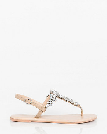 Jewel Embellished Leather Thong Sandal
