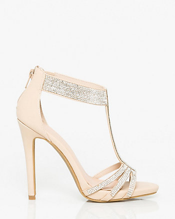 Jewels & Leather-Like T-Strap Sandal